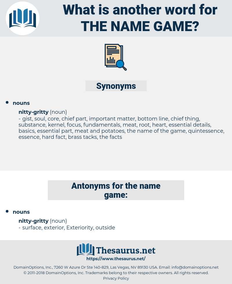 the name game, synonym the name game, another word for the name game, words like the name game, thesaurus the name game