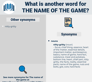 the name of the game, synonym the name of the game, another word for the name of the game, words like the name of the game, thesaurus the name of the game
