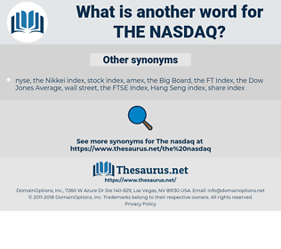 the NASDAQ, synonym the NASDAQ, another word for the NASDAQ, words like the NASDAQ, thesaurus the NASDAQ