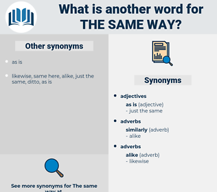 the same way, synonym the same way, another word for the same way, words like the same way, thesaurus the same way