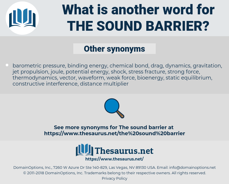 the sound barrier, synonym the sound barrier, another word for the sound barrier, words like the sound barrier, thesaurus the sound barrier