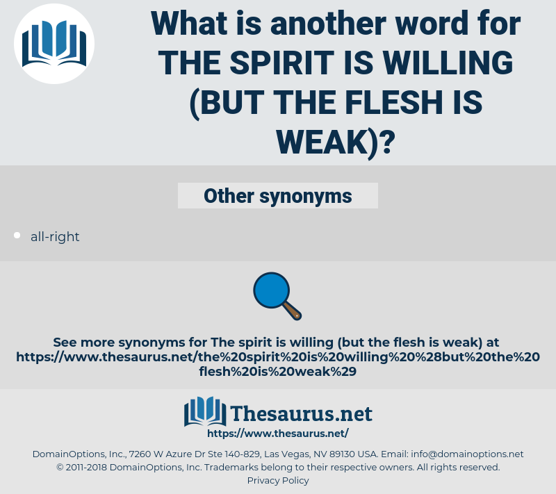 the spirit is willing (but the flesh is weak), synonym the spirit is willing (but the flesh is weak), another word for the spirit is willing (but the flesh is weak), words like the spirit is willing (but the flesh is weak), thesaurus the spirit is willing (but the flesh is weak)