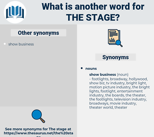 the stage, synonym the stage, another word for the stage, words like the stage, thesaurus the stage