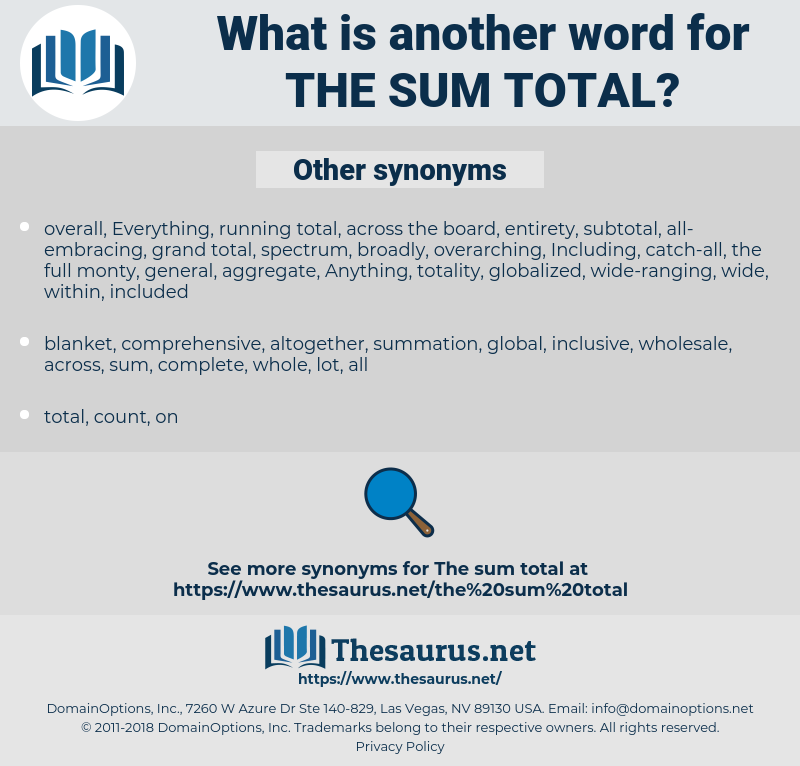 the sum total, synonym the sum total, another word for the sum total, words like the sum total, thesaurus the sum total