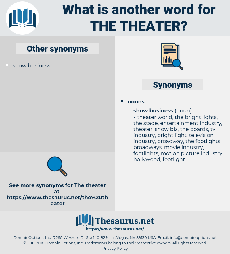 the theater, synonym the theater, another word for the theater, words like the theater, thesaurus the theater