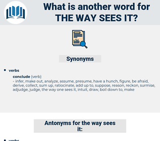 the way sees it, synonym the way sees it, another word for the way sees it, words like the way sees it, thesaurus the way sees it
