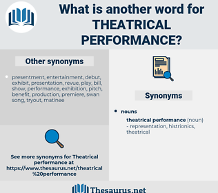 theatrical performance, synonym theatrical performance, another word for theatrical performance, words like theatrical performance, thesaurus theatrical performance
