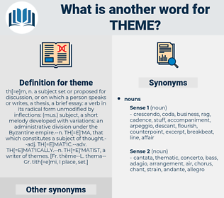 theme, synonym theme, another word for theme, words like theme, thesaurus theme