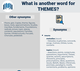 themes, synonym themes, another word for themes, words like themes, thesaurus themes