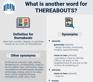 thereabouts, synonym thereabouts, another word for thereabouts, words like thereabouts, thesaurus thereabouts