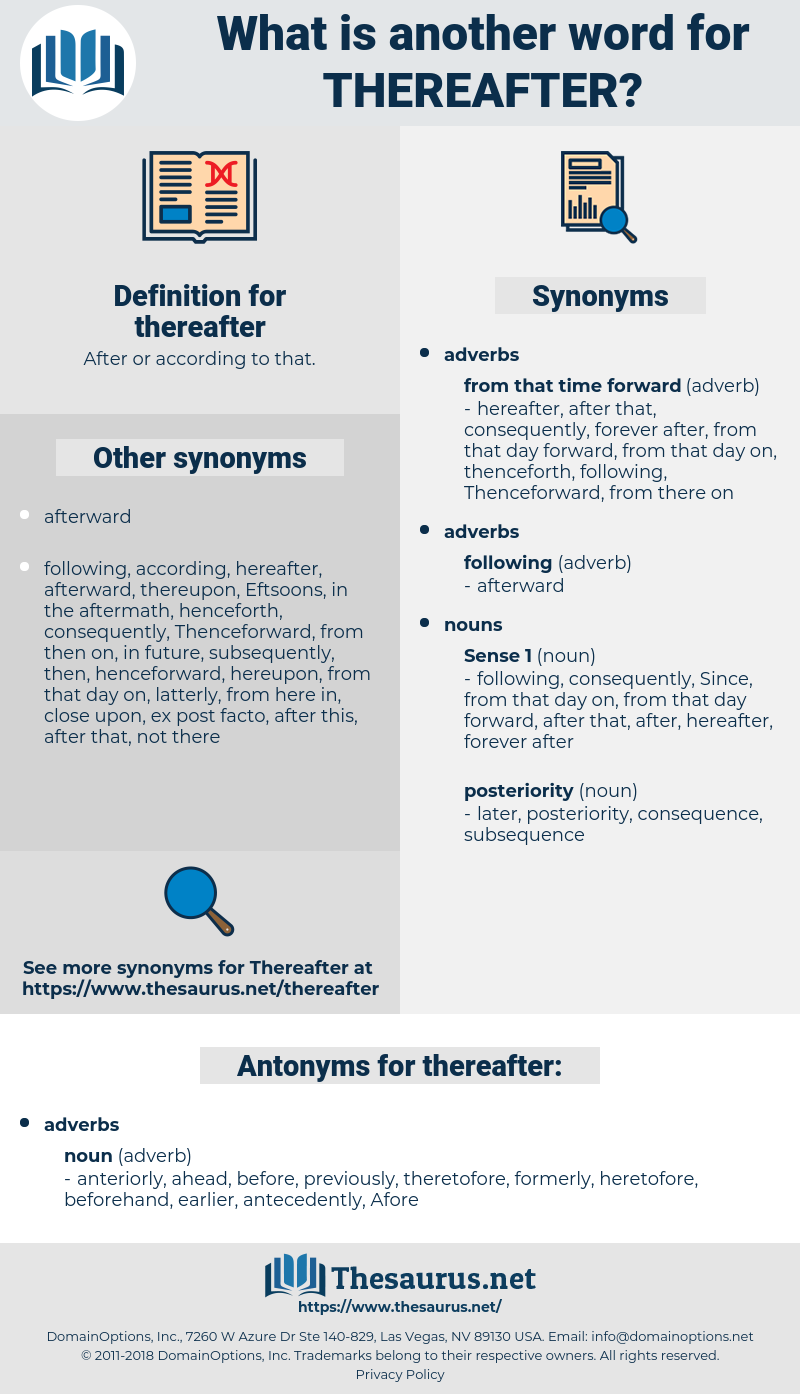 thereafter, synonym thereafter, another word for thereafter, words like thereafter, thesaurus thereafter