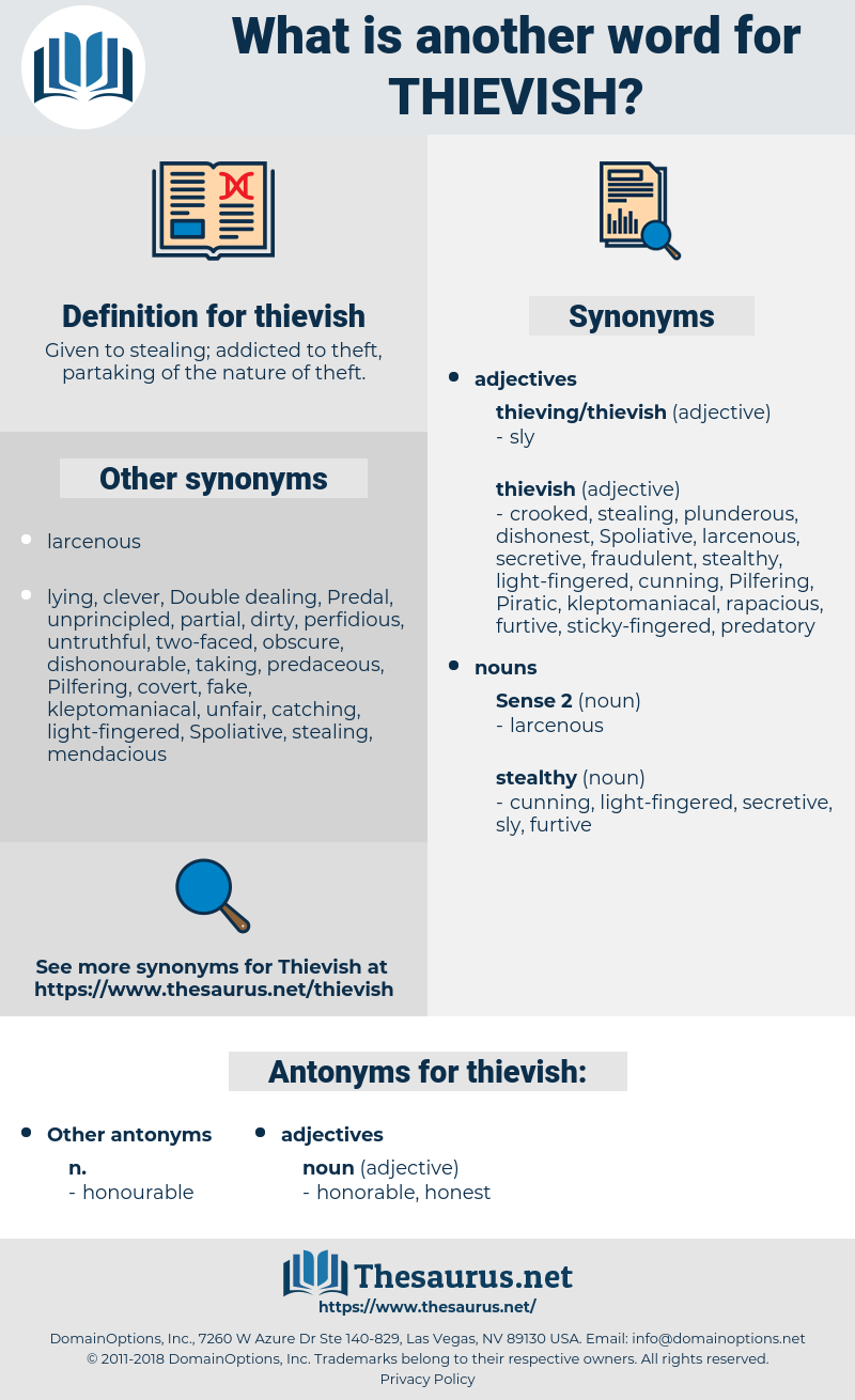 thievish, synonym thievish, another word for thievish, words like thievish, thesaurus thievish