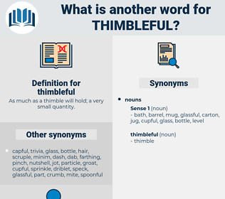 thimbleful, synonym thimbleful, another word for thimbleful, words like thimbleful, thesaurus thimbleful