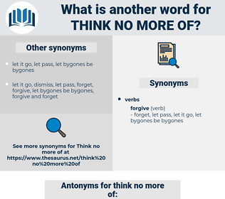 think no more of, synonym think no more of, another word for think no more of, words like think no more of, thesaurus think no more of