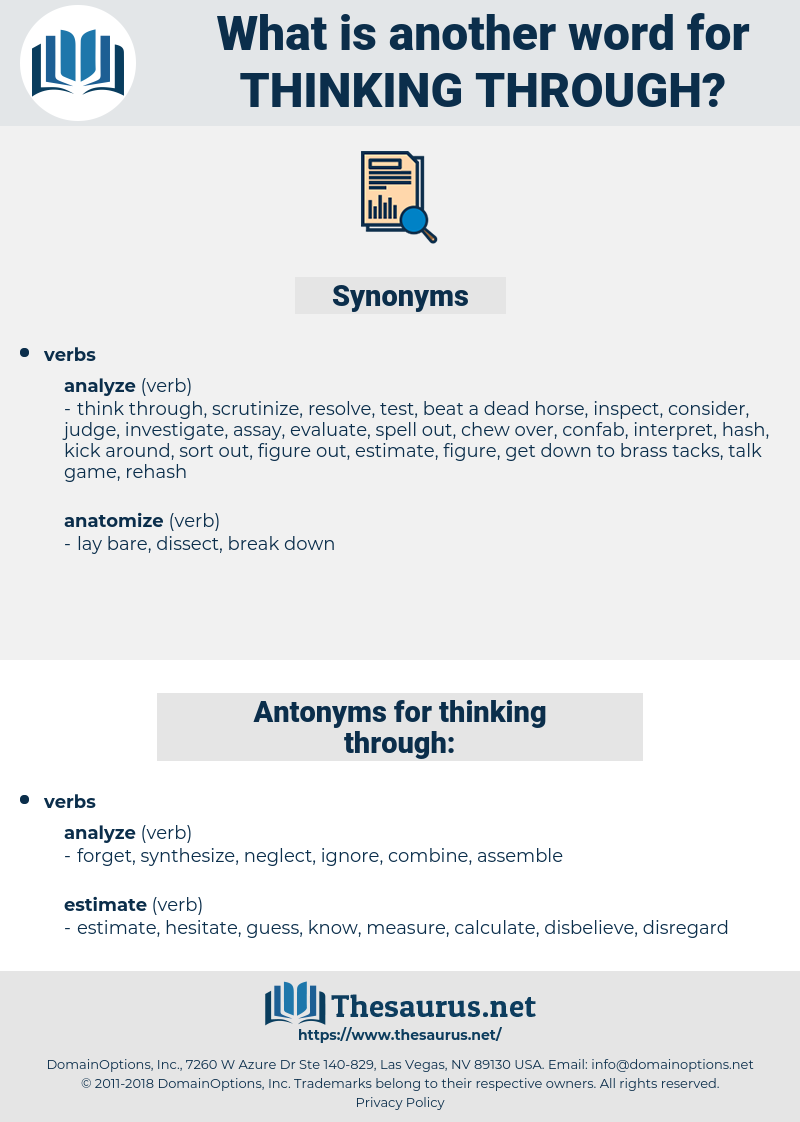 thinking through, synonym thinking through, another word for thinking through, words like thinking through, thesaurus thinking through