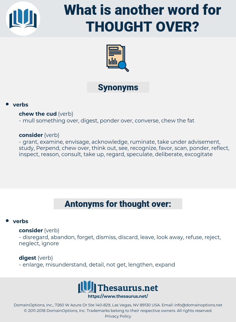 thought over, synonym thought over, another word for thought over, words like thought over, thesaurus thought over