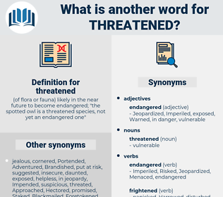 threatened, synonym threatened, another word for threatened, words like threatened, thesaurus threatened
