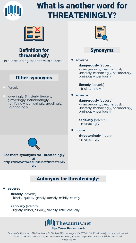 threateningly, synonym threateningly, another word for threateningly, words like threateningly, thesaurus threateningly