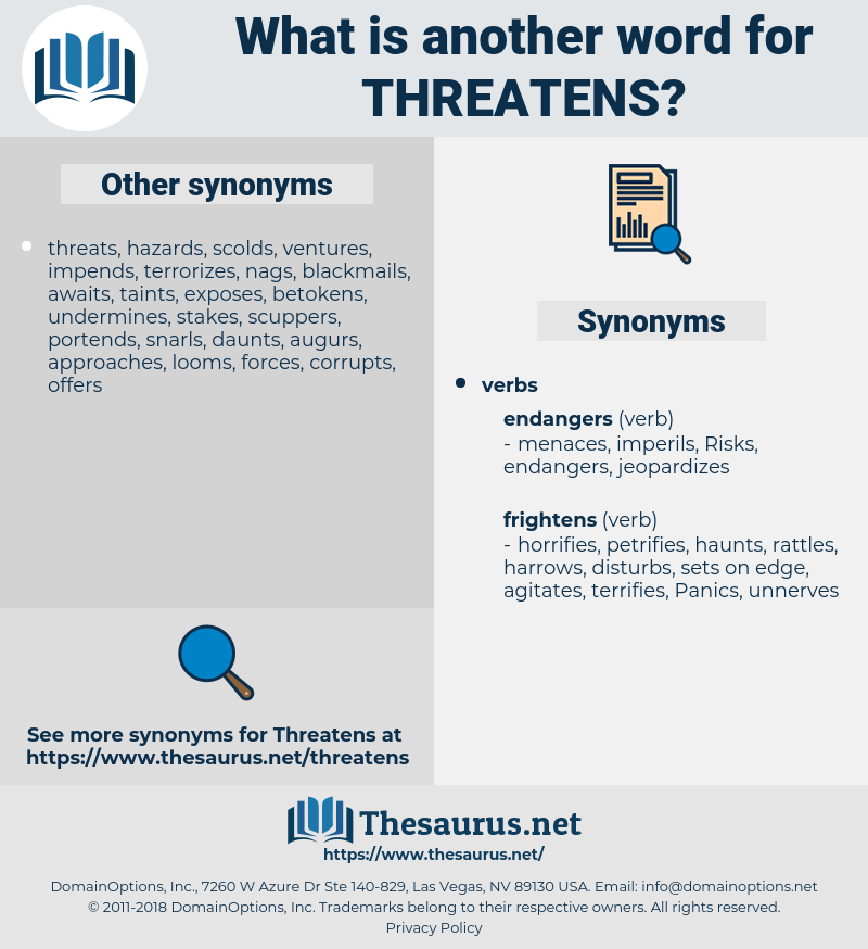 threatens, synonym threatens, another word for threatens, words like threatens, thesaurus threatens