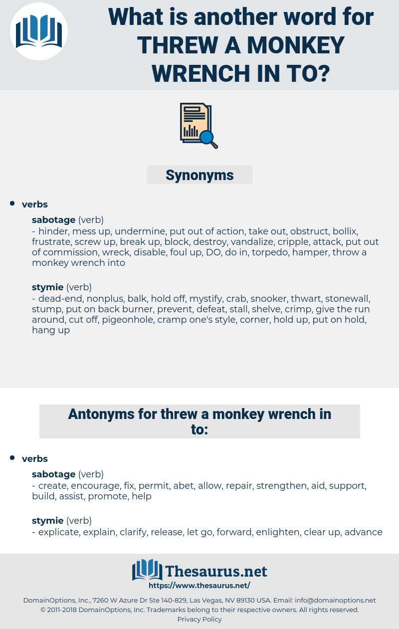 threw a monkey wrench in to, synonym threw a monkey wrench in to, another word for threw a monkey wrench in to, words like threw a monkey wrench in to, thesaurus threw a monkey wrench in to