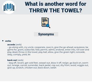 threw the towel, synonym threw the towel, another word for threw the towel, words like threw the towel, thesaurus threw the towel