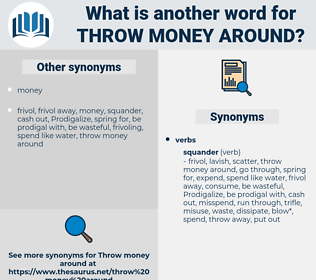 throw money around, synonym throw money around, another word for throw money around, words like throw money around, thesaurus throw money around