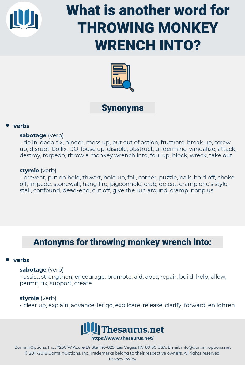 throwing monkey wrench into, synonym throwing monkey wrench into, another word for throwing monkey wrench into, words like throwing monkey wrench into, thesaurus throwing monkey wrench into