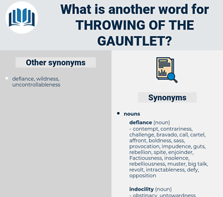 throwing of the gauntlet, synonym throwing of the gauntlet, another word for throwing of the gauntlet, words like throwing of the gauntlet, thesaurus throwing of the gauntlet