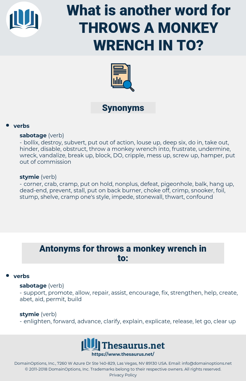 throws a monkey wrench in to, synonym throws a monkey wrench in to, another word for throws a monkey wrench in to, words like throws a monkey wrench in to, thesaurus throws a monkey wrench in to