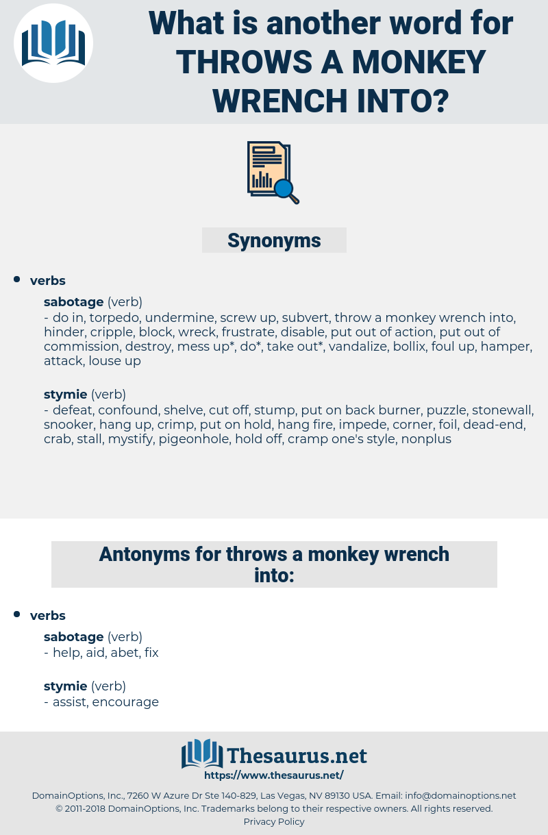 throws a monkey wrench into, synonym throws a monkey wrench into, another word for throws a monkey wrench into, words like throws a monkey wrench into, thesaurus throws a monkey wrench into
