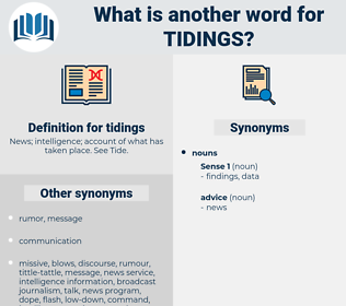 tidings, synonym tidings, another word for tidings, words like tidings, thesaurus tidings