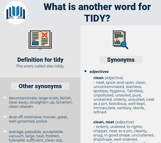 tidy, synonym tidy, another word for tidy, words like tidy, thesaurus tidy