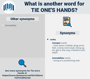 tie one's hands, synonym tie one's hands, another word for tie one's hands, words like tie one's hands, thesaurus tie one's hands