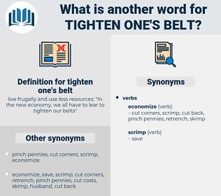 tighten one's belt, synonym tighten one's belt, another word for tighten one's belt, words like tighten one's belt, thesaurus tighten one's belt