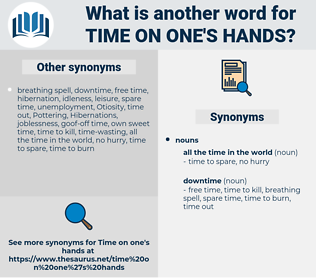 time on one's hands, synonym time on one's hands, another word for time on one's hands, words like time on one's hands, thesaurus time on one's hands