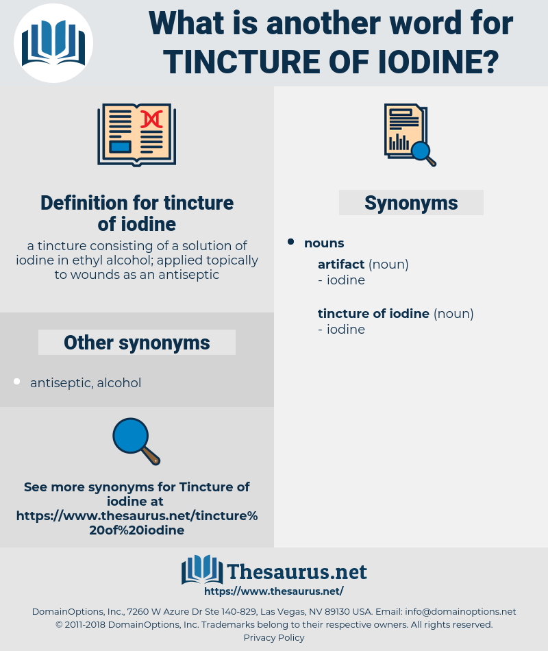 Synonyms for TINCTURE OF IODINE - Thesaurus net