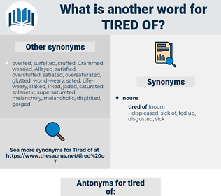 tired of, synonym tired of, another word for tired of, words like tired of, thesaurus tired of