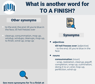 to a finish, synonym to a finish, another word for to a finish, words like to a finish, thesaurus to a finish