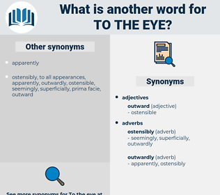 to the eye, synonym to the eye, another word for to the eye, words like to the eye, thesaurus to the eye