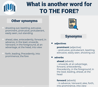 to the fore, synonym to the fore, another word for to the fore, words like to the fore, thesaurus to the fore