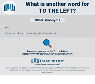 to the left, synonym to the left, another word for to the left, words like to the left, thesaurus to the left