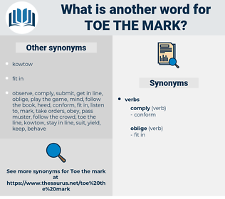 toe the mark, synonym toe the mark, another word for toe the mark, words like toe the mark, thesaurus toe the mark