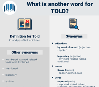 Told, synonym Told, another word for Told, words like Told, thesaurus Told