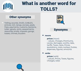 tolls, synonym tolls, another word for tolls, words like tolls, thesaurus tolls