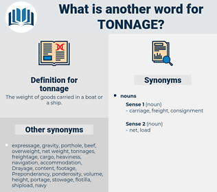 tonnage, synonym tonnage, another word for tonnage, words like tonnage, thesaurus tonnage