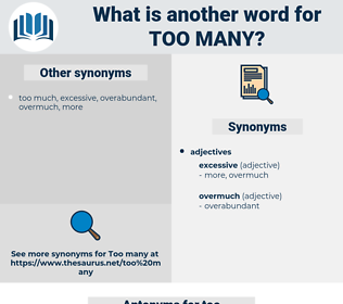 too many, synonym too many, another word for too many, words like too many, thesaurus too many