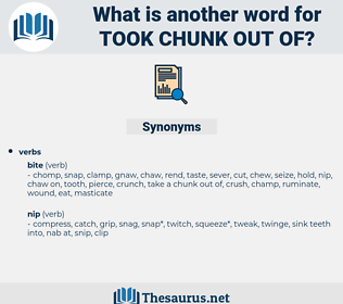took chunk out of, synonym took chunk out of, another word for took chunk out of, words like took chunk out of, thesaurus took chunk out of