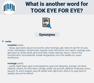 took eye for eye, synonym took eye for eye, another word for took eye for eye, words like took eye for eye, thesaurus took eye for eye