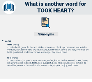 took heart, synonym took heart, another word for took heart, words like took heart, thesaurus took heart
