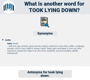 took lying down, synonym took lying down, another word for took lying down, words like took lying down, thesaurus took lying down